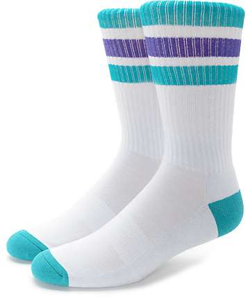 Zine Trunkicular Grey, Purple & Teal Crew Socks