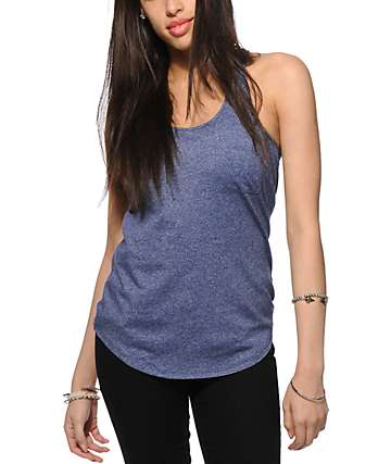 Zine Twist Navy Tank Top