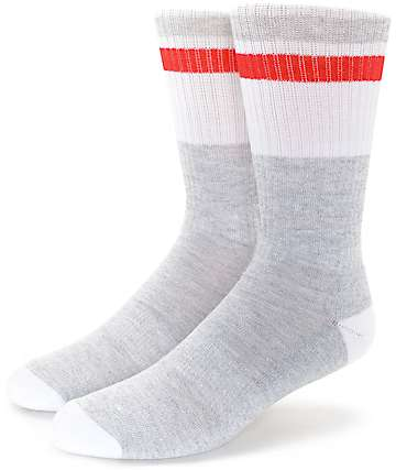 Zine Ultimate Grey, White & Red Crew Socks