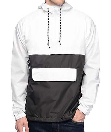 Zine Unlimited chaqueta cortavientos tipo Anorak en blanco y negro