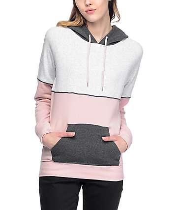 Zine Vilma Mauve & Charcoal Colorblock Hoodie