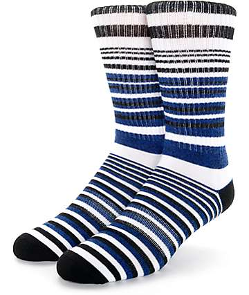 Zine Wagon White, Black, & Blue Crew Socks