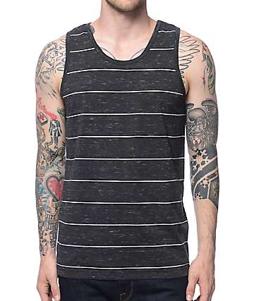 Zine Walk The Line Charcoal & White Stripe Tank Top