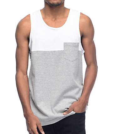 Zine White & Grey Blocked Pocket Tank Top