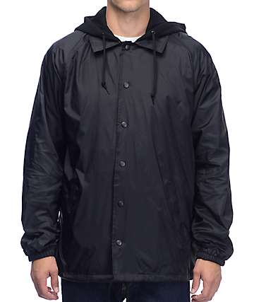 Zine Williams Black Fleece Hood Coaches Jacket