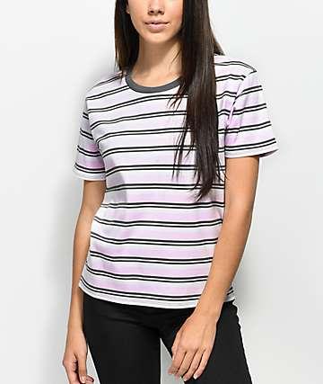 Zine Winslet Pink camiseta gris y blanca a rayas
