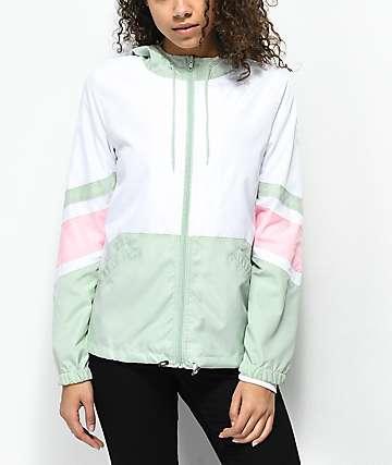 Zine Xander chaqueta cortavientos en color menta, blanco y rosa