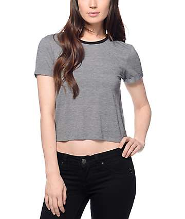 Zine Yohan Grey Crop Ringer T-Shirt