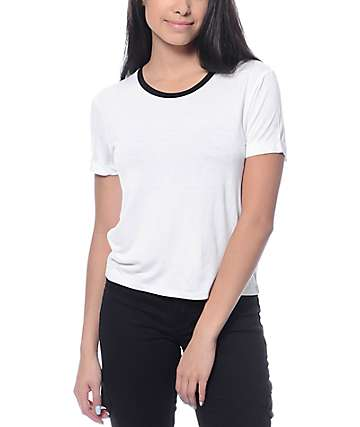 Zine Yohan White Crop Ringer T-Shirt