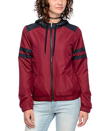 Zine Zandi Burgundy & Black Athletic Stripe Windbreaker Jacket