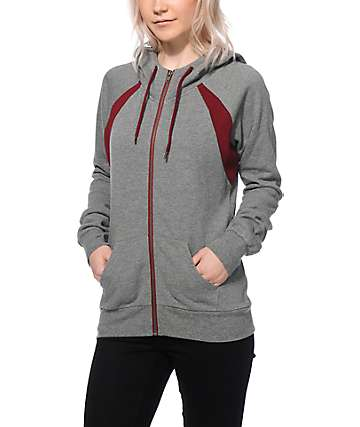 Zine Zeta Heather Grey & Burgundy Zip Up Hoodie