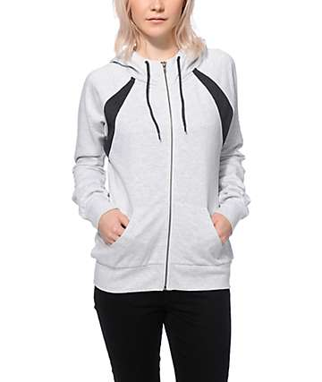 Zine Zeta Heather White & Charcoal Zip Up Hoodie