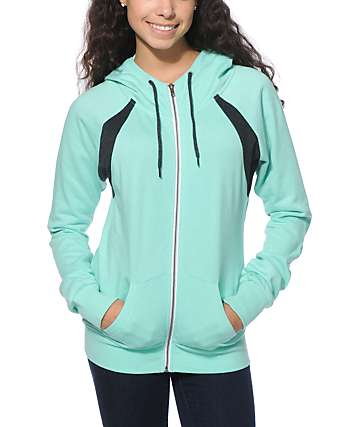 Zine Zeta Mint & Charcoal Zip Up Hoodie