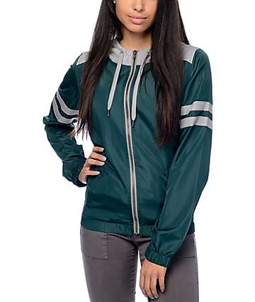 Zine Zion Dark Green & Grey Athletic Stripe Windbreaker Jacket