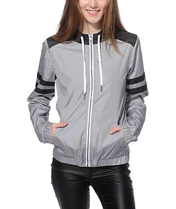 Zine Zion chaqueta cortaviento gris y franja atlética negro