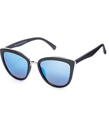 Zoe Matte Black Mirrored Cat Eye Sunglasses