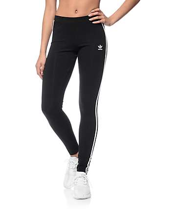 adidas 3 Stripe Black Leggings