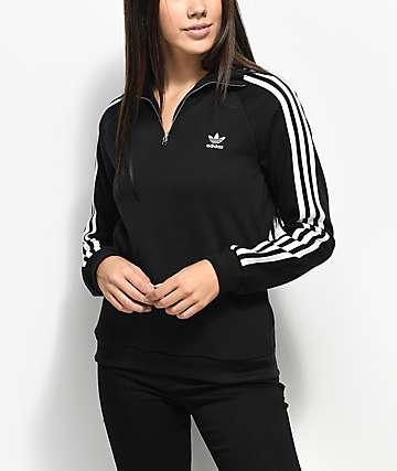 adidas 3 Stripe Black Partial Zip Sweatshirt