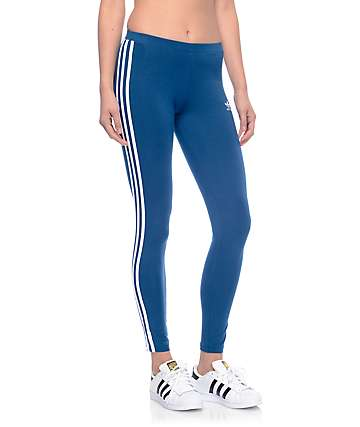 adidas 3 Stripe Dark Blue Leggings