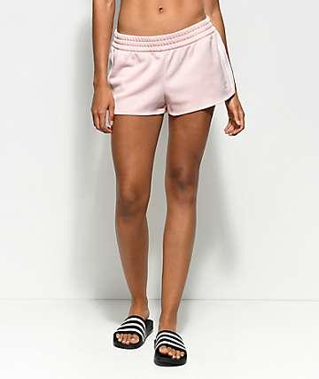 adidas 3 Stripe Ice Pink Track Shorts