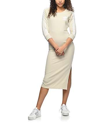 adidas 3 Stripe Khaki Midi Dress