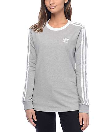 adidas 3 Stripe Medium Heather Grey Long Sleeve T-Shirt