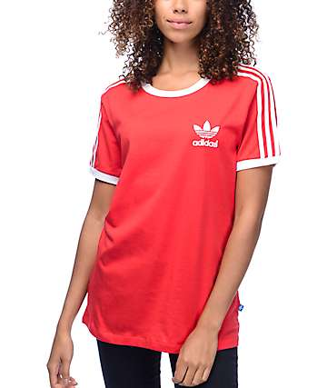 adidas 3 Stripe Red Womens T-Shirt