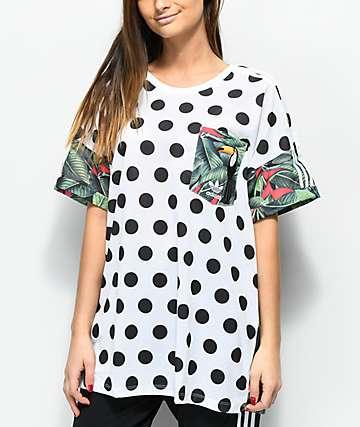 adidas 3 Stripe Tropical Polka Dot T-Shirt