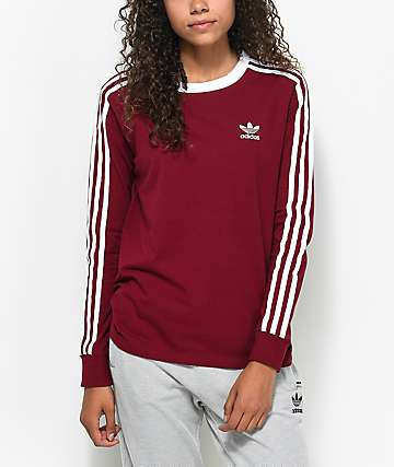 adidas 3-Stripe camiseta de manga larga en color vino