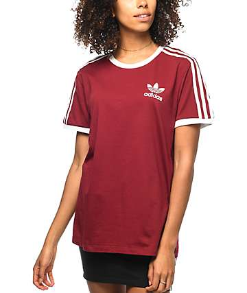 adidas 3 Stripe camiseta en color vino