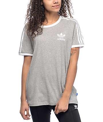 adidas 3 Stripe camiseta gris