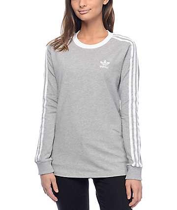 adidas 3 Stripe camiseta gris de manga larga