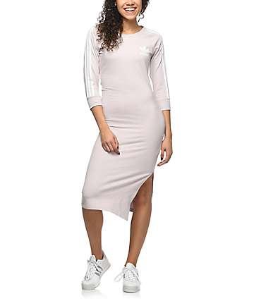 adidas 3 Stripe vestido midi en color lavanda