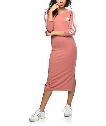 adidas 3 Stripe vestido midi en color malva