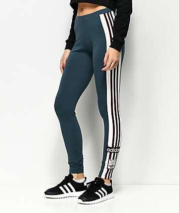 adidas Adibreak Midnight Blue & Burgundy Stripe 3 Stripe Leggings