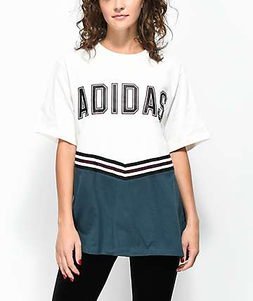 adidas Adibreak White & Navy Collegiate T-Shirt