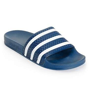 adidas Adilette sandalias en blanco y azul