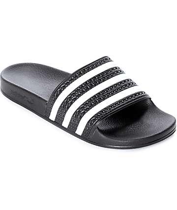 adidas Adilette sandalias en blanco y negro