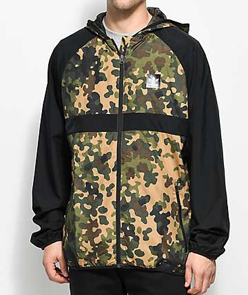 adidas Black & Green Camo Windbreaker Jacket