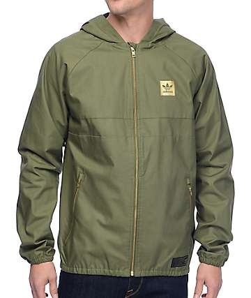 adidas Blackbird Olive Twill Windbreaker Jacket