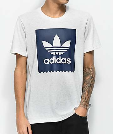 adidas Blackbird Solid Heather Grey & Blue T-Shirt