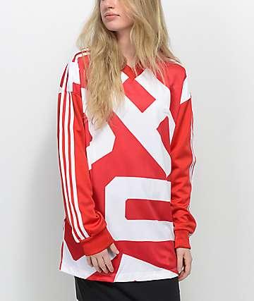 adidas Bold Age camiseta de chándal de manga larga en rojo y blanco