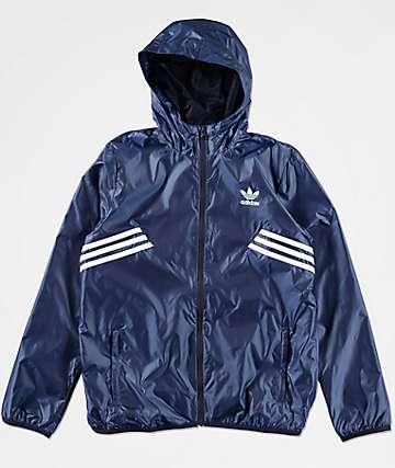adidas Boys Angled Striped Windbreaker Jacket