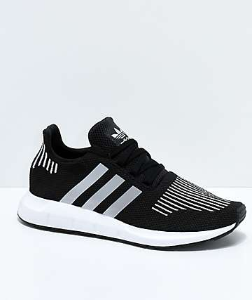 adidas Boys Swift Run Core Black & Silver Shoes