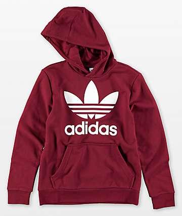 adidas Boys Trefoil Red Hoodie