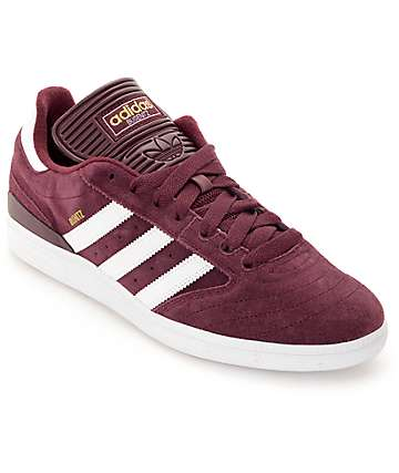 adidas Busenitz Burgundy, White, & Gold Skate Shoes