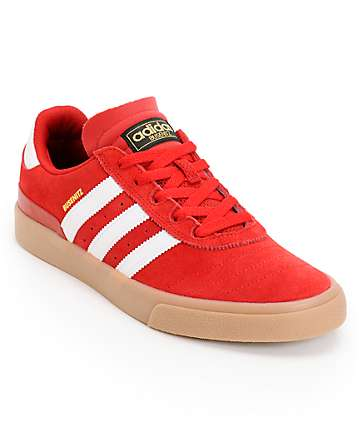 adidas Busenitz Vulc Red, White, & Gum Skate Shoes
