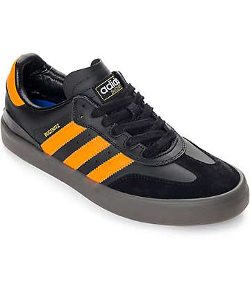 adidas Busenitz Vulc Samba Black & Orange Gum Shoes
