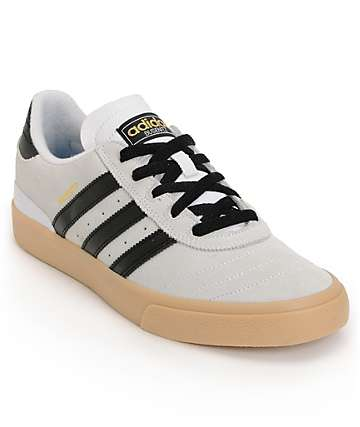 adidas Busenitz Vulc White, Black & Gum Skate Shoes