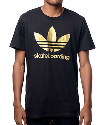 adidas Clima 3.0 Solid Fill Black & Gold T-Shirt